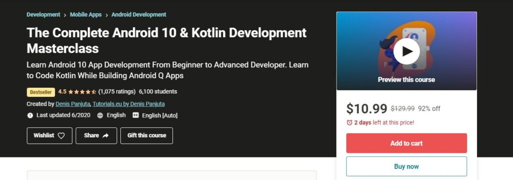 The Complete Android 10 & Kotlin Development Masterclass Udemy