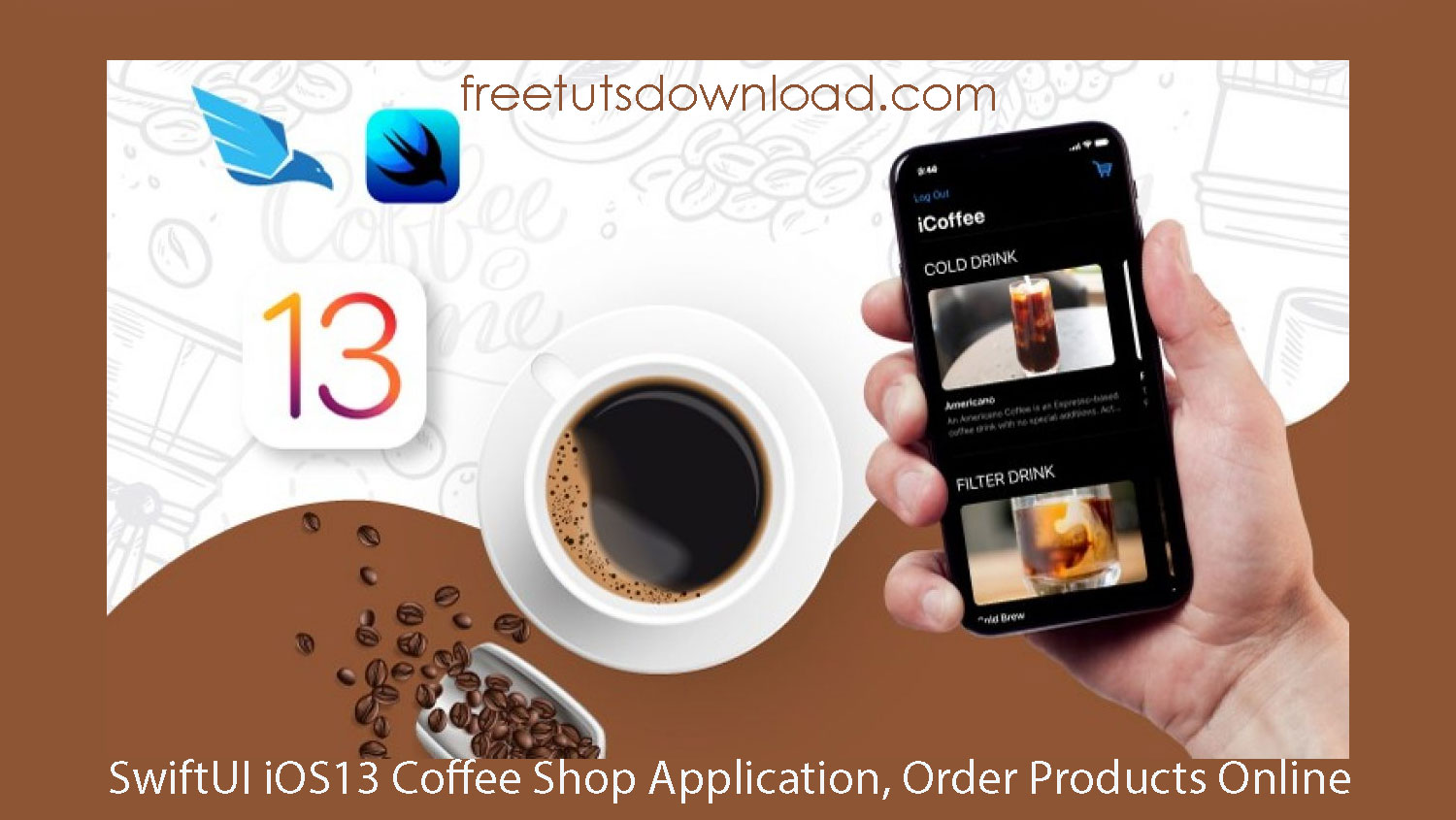 SwiftUI iOS13 Coffee Shop Application, Order Products Online free download